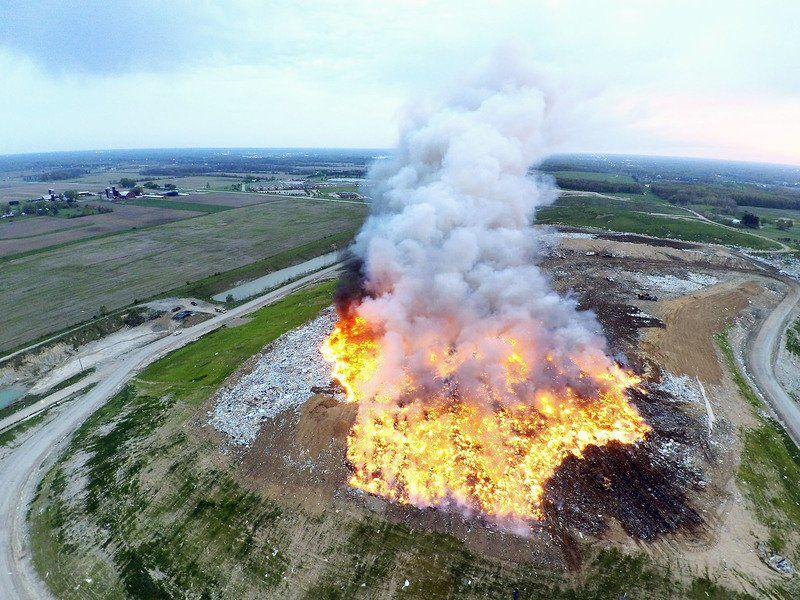 Landfill fire aerial